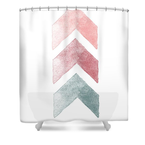 Pink And Blue Chevron Watercolor  Shower Curtain