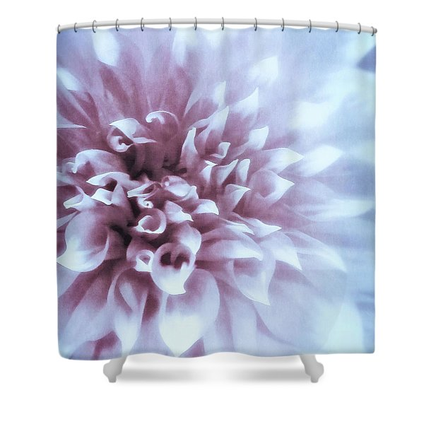Pink And Blue Dahlia Shower Curtain