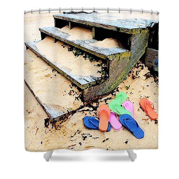 Pink And Blue Flip Flops By The Steps Shower Curtain