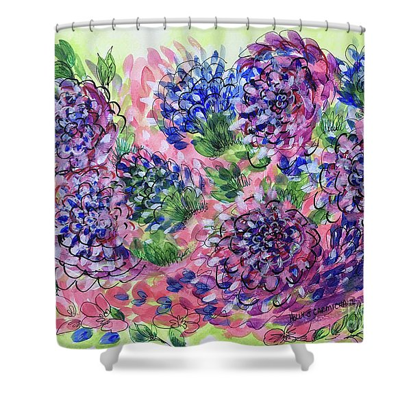 Pink And Blue Flower Flurry Shower Curtain