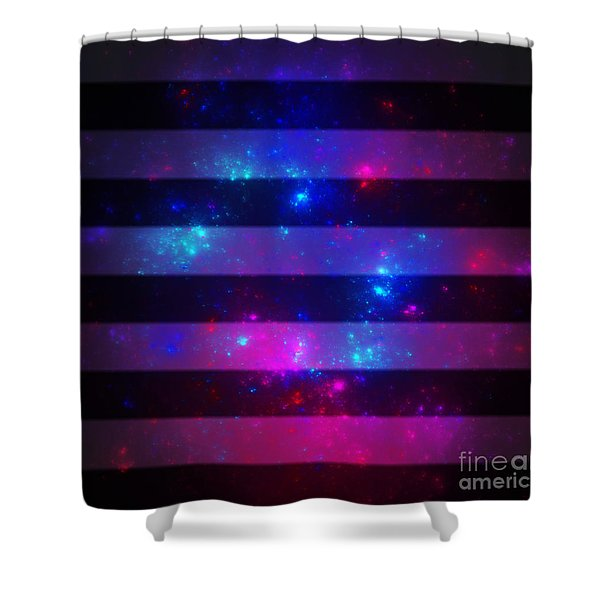 Pink And Blue Striped Galaxy Shower Curtain