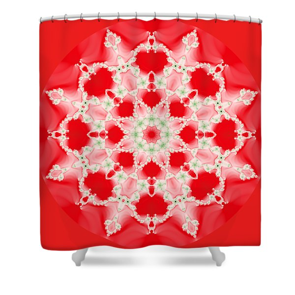 Pink And Green Watercolor Snowflake Fractal Shower Curtain