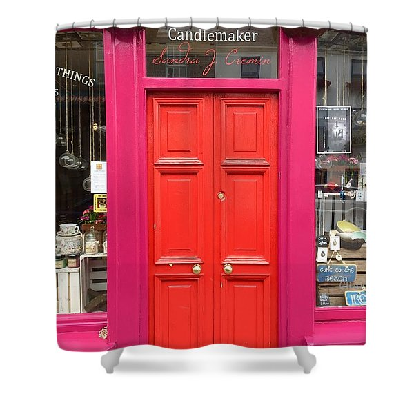 Pink And Orange Door Ireland Shower Curtain