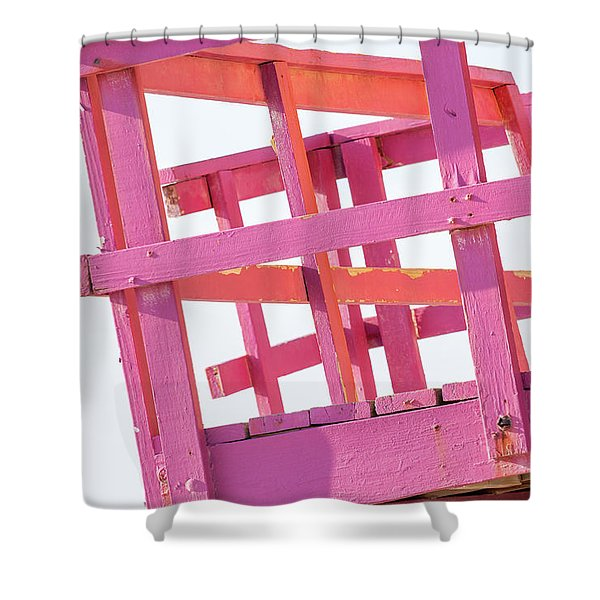 Pink And Orange Lifeguard Tower Shower Curtain