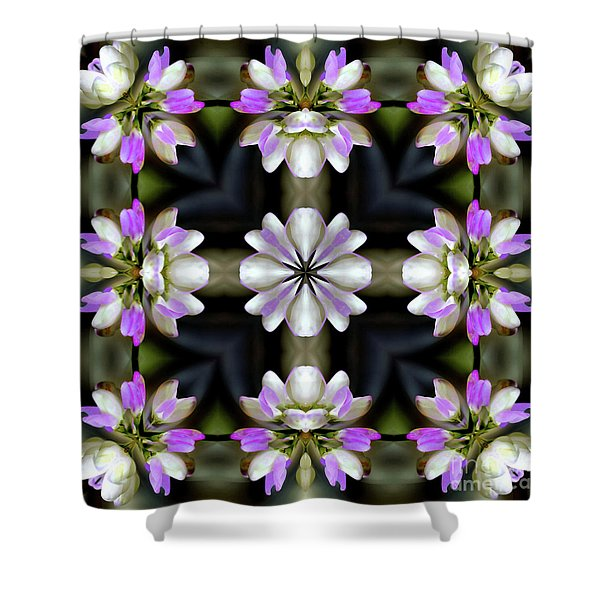 Pink And White Flowers Abstract Shower Curtain