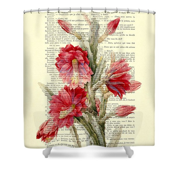 Pink Cactus Flower Vintage Book Page Collage Shower Curtain