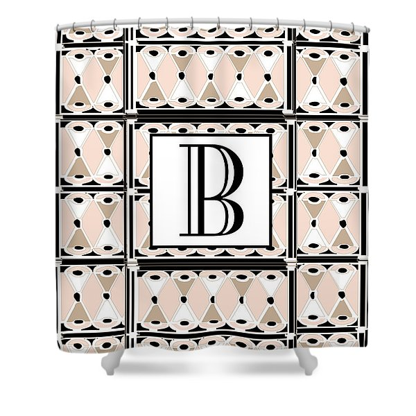 Pink Champagne Deco Monogram  B Shower Curtain