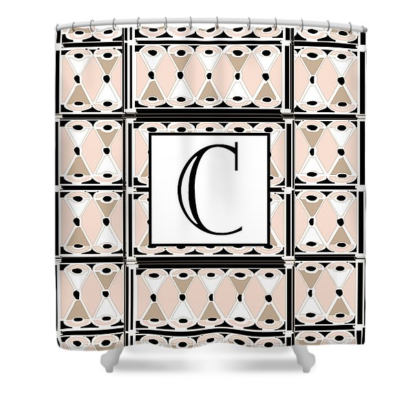 Pink Champagne Deco Monogram  C Shower Curtain