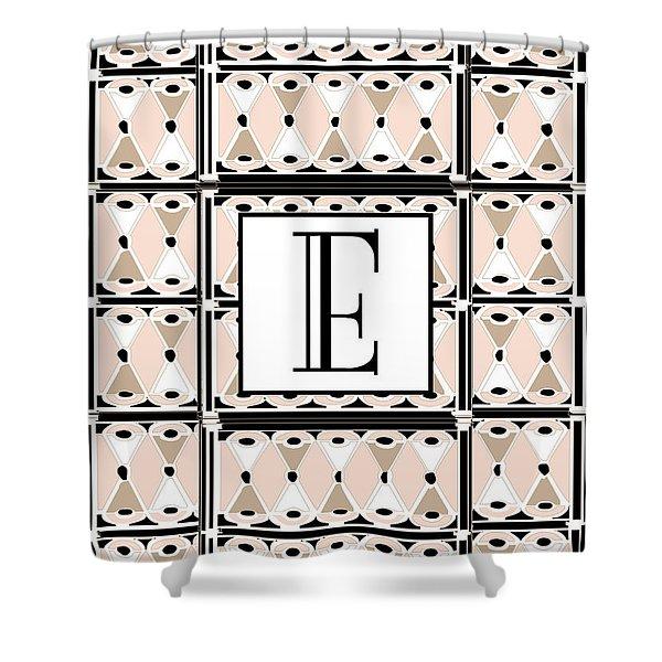 Pink Champagne Deco Monogram  E Shower Curtain