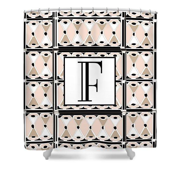 Pink Champagne Deco Monogram  F Shower Curtain