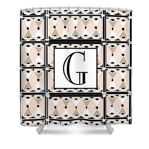 Pink Champagne Deco Monogram  G Shower Curtain