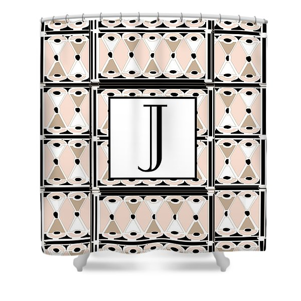 Pink Champagne Deco Monogram  J Shower Curtain