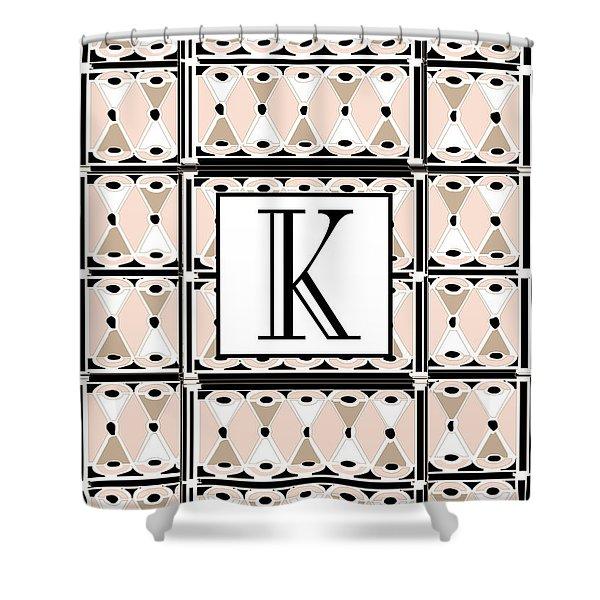 Pink Champagne Deco Monogram  K Shower Curtain