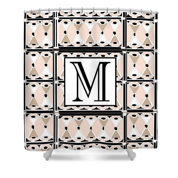 Pink Champagne Deco Monogram  M Shower Curtain