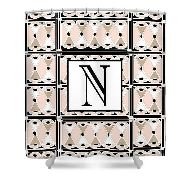 Pink Champagne Deco Monogram  N Shower Curtain