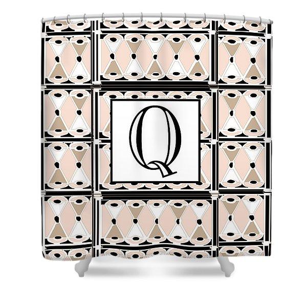 Pink Champagne Deco Monogram  Q Shower Curtain