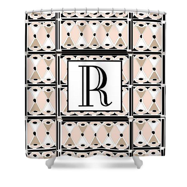 Pink Champagne Deco Monogram  R Shower Curtain