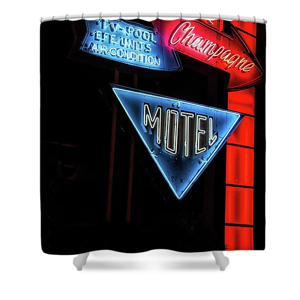 Pink Champagne Motel Shower Curtain