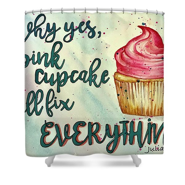 Pink Cupcake Shower Curtain