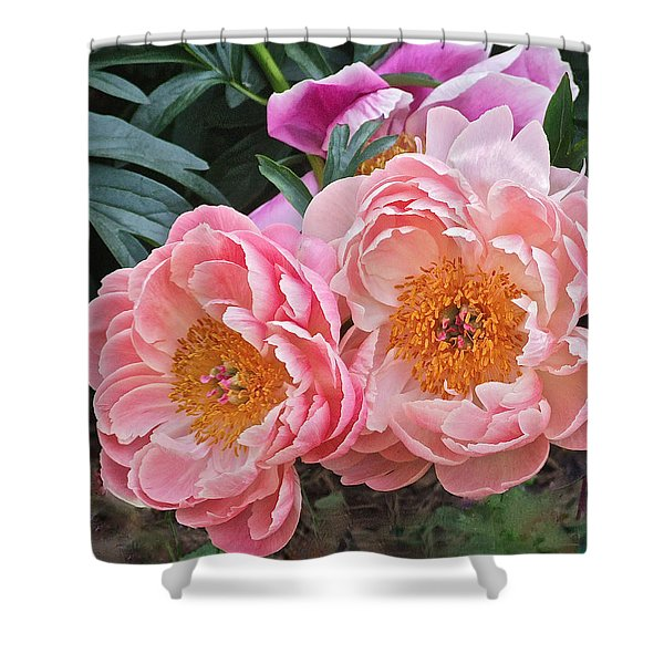 Pink Duo Peony Shower Curtain
