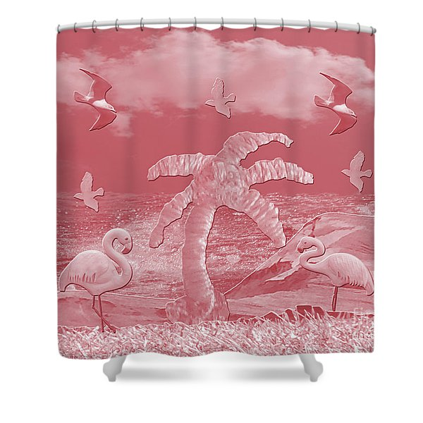 Pink Flamingo's Palms Shower Curtain