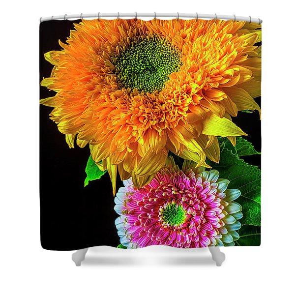 Pink Gerbera Daisy And Sunflower Shower Curtain