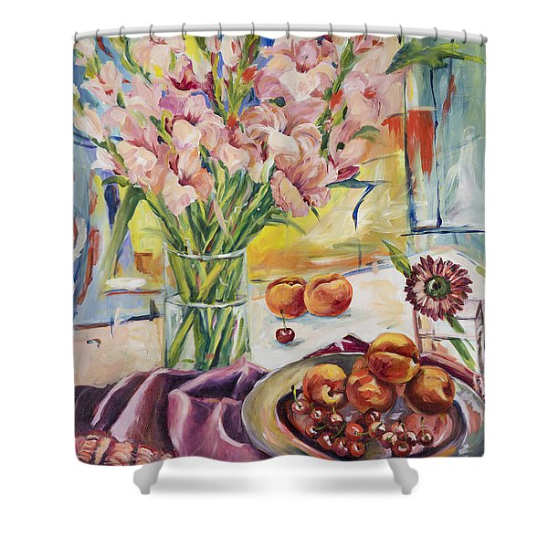 Pink Gladioas Shower Curtain