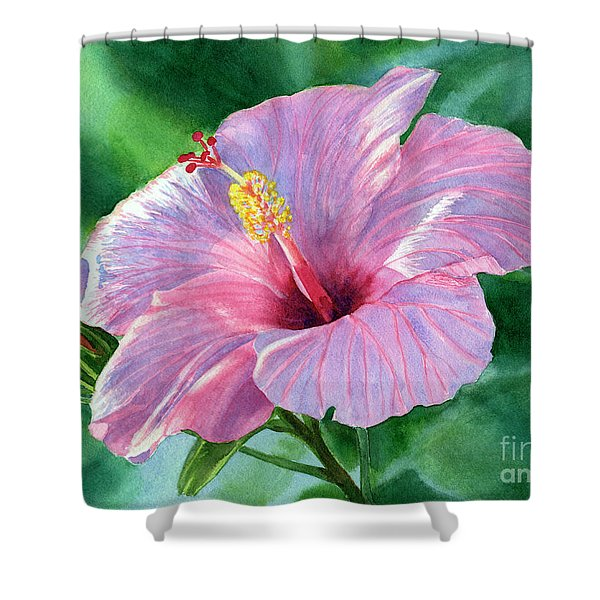 Pink Hibiscus Flower With Leafy Background Shower Curtain