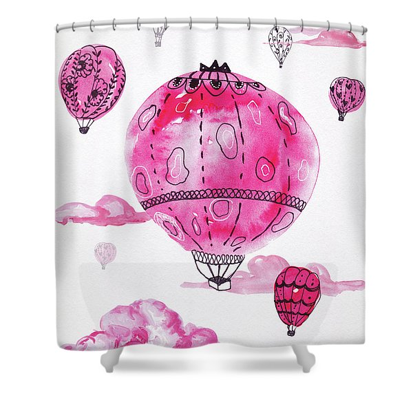 Pink Hot Air Baloons Shower Curtain