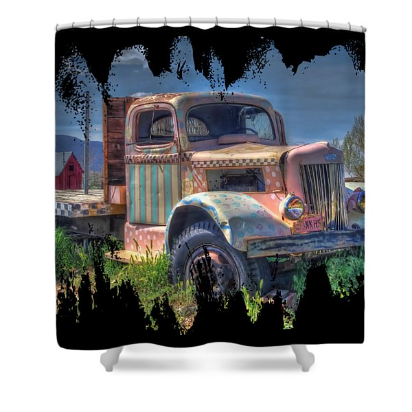 Classic Flatbed Truck In Pink Shower Curtain