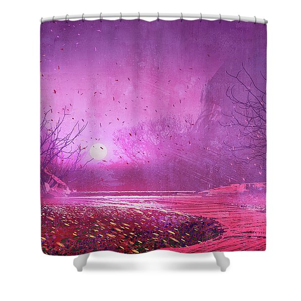 Shower Curtain featuring the painting Pink Landscape by Tithi Luadthong