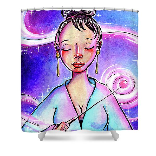 Pink Light Witch Shower Curtain