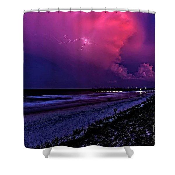 Pink Lightning Shower Curtain