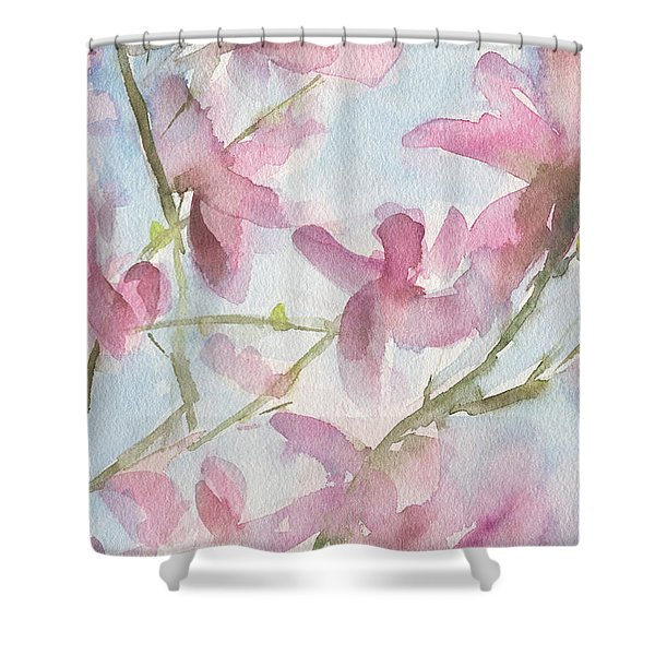 Pink Magnolias Blue Sky Shower Curtain