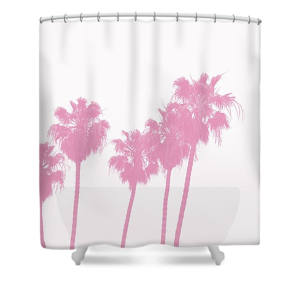 Pink Palm Trees- Art By Linda Woods Shower Curtain