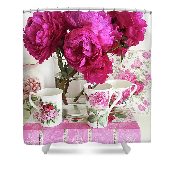 Pink Peonies, Red Peonies, Peony Flowers, Peonies Peony Teacups Kitchen Art Home Decor Shower Curtain