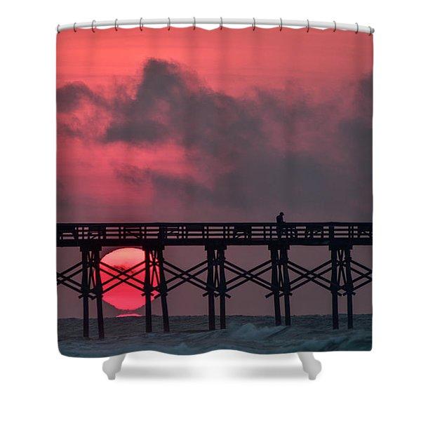 Pink Pier Sunrise Shower Curtain