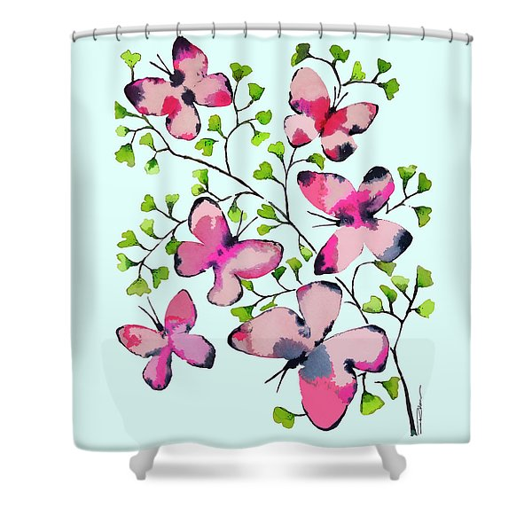 Pink Profusion Butterflies Shower Curtain