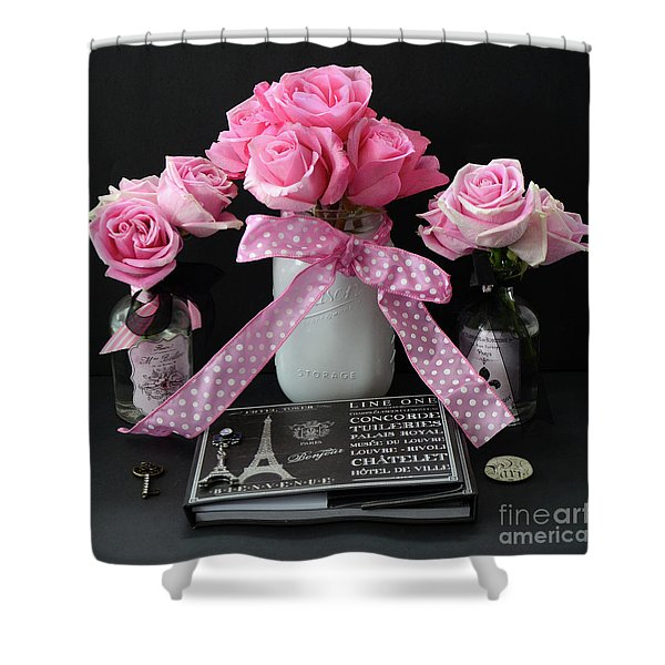 Pink Roses French Decor - Pink And Black Parisian Wall Art - Pink Roses French Home Decor Shower Curtain