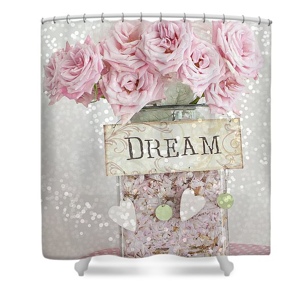 Shabby Chic Dreamy Pink Roses - Cottage Chic Pink Romantic Roses In Jar  - Dream Roses Shower Curtain