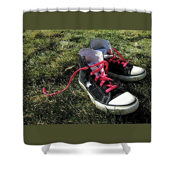 Pink Shoe Laces Shower Curtain
