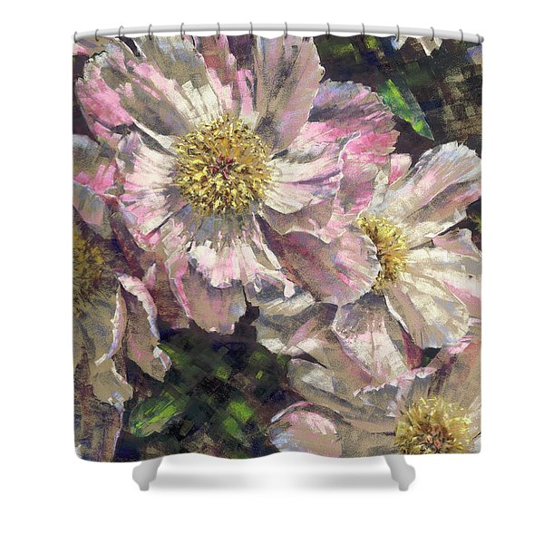 Pink Single Peonies Shower Curtain