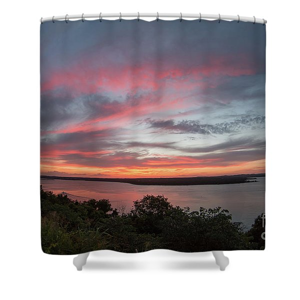 Pink Skies And Clouds At Sunset Over Lake Travis In Austin Texas Shower Curtain