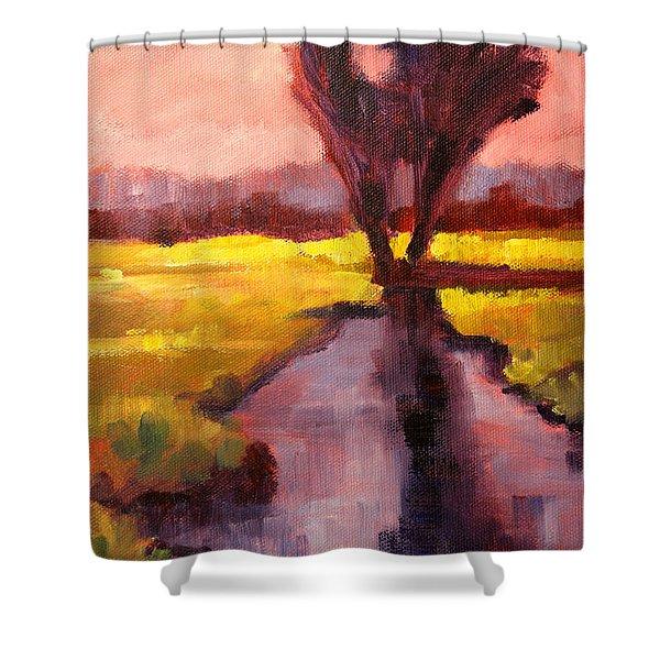 Pink Sky Sunset Shower Curtain