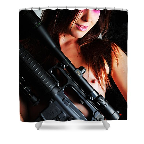 Pink Sniper Shower Curtain