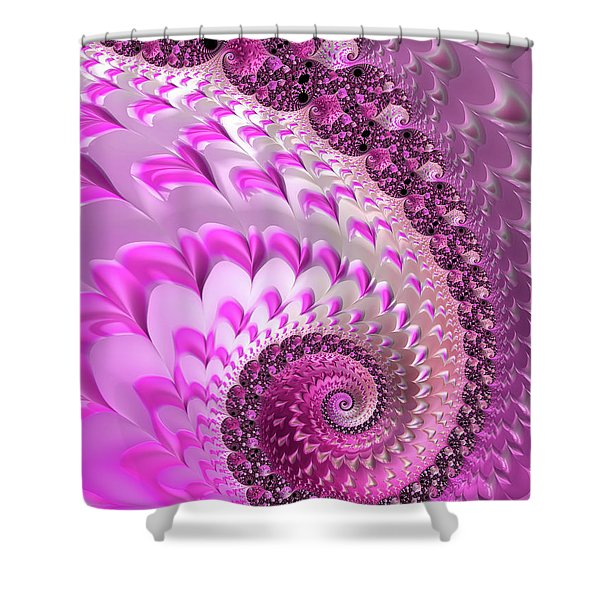 Pink Spiral With Lovely Hearts Shower Curtain