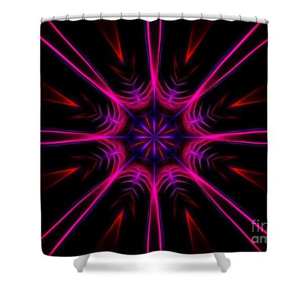 Pink Starburst Fractal  Shower Curtain