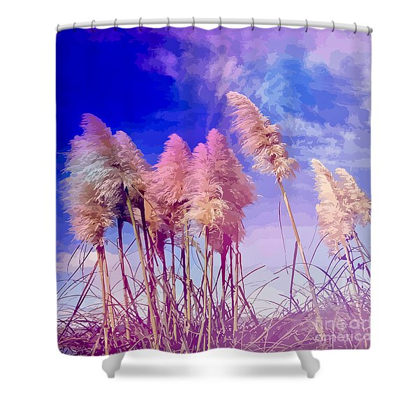 Pink Toi Toi Grasses Shower Curtain