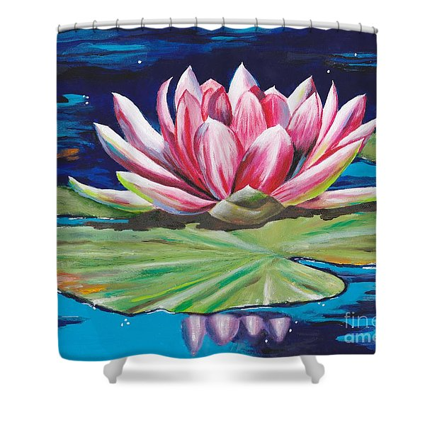 Shower Curtain featuring the painting Pink Tranquility by Mary Scott