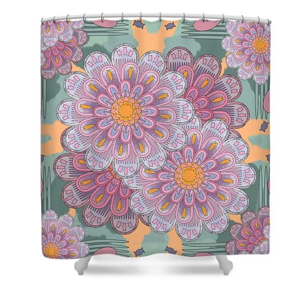 Pink Zinnia Mandala Shower Curtain